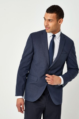 Blue Tailored Fit Wool Mix Textured Suit: Jacket