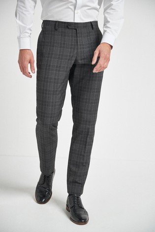 Charcoal Slim Fit Check Suit: Trousers