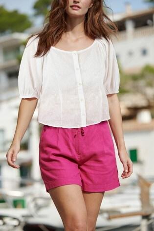 Bright Pink Linen Blend Shorts