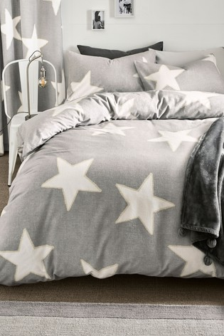 Brushed Stars 100% Cotton Duvet Cover and Pillowcase Set
