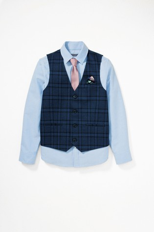 Navy Check Waistcoat, Shirt And Tie Set (12mths-16yrs)