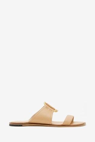Mint Velvet Animal Gina Neutral Leather Sandals