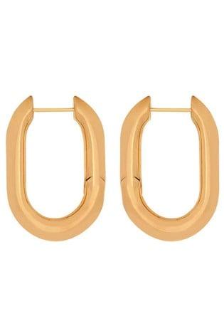 Mint Velvet Gold Chunky Oval Hoop Earrings