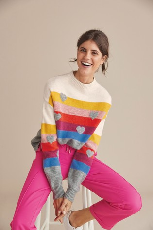 Multi Stripe Heart Jumper