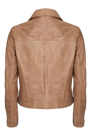 Mint Velvet Tan Zip Leather Biker Jacket