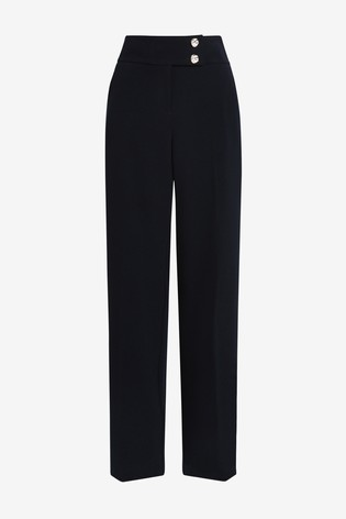 Navy Wide Leg Gold Button Trousers