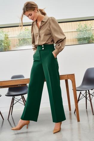 Green Wide Leg Gold Button Trousers