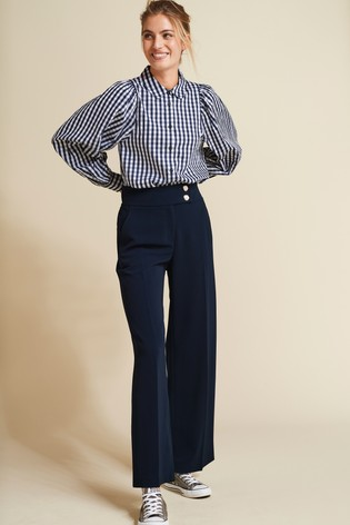 Ecru Check Puff Sleeve Shirt