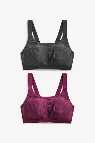 Plum/Black High Impact Sports Crop Tops Two Pack