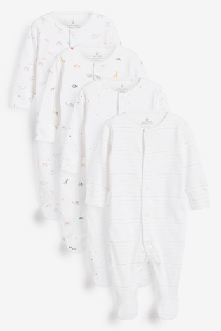 White 4 Pack Bright Elephant Sleepsuits (0-2yrs)