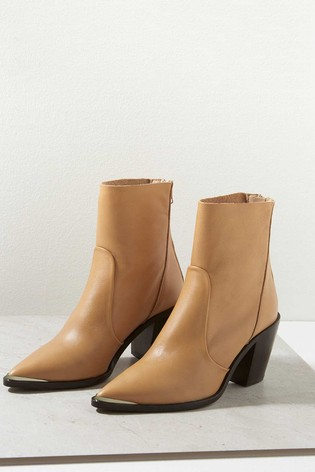 Mint Velvet Brown Amy Leather Ankle Boots