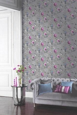 Arthouse Paradise Garden Floral Birds Wallpaper