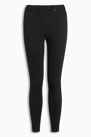 Black Jersey Denim Leggings