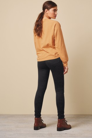 Black Fly Fasten Jersey Denim Leggings