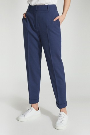 Reiss Blue Sienna Wool Blend Tailored Trousers