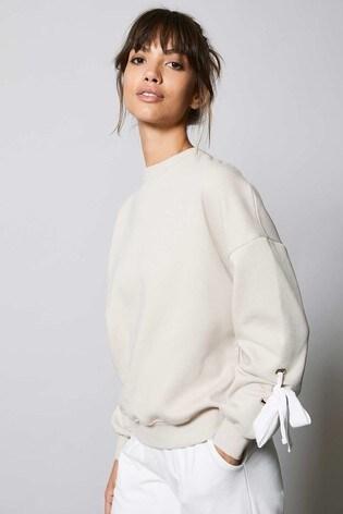 Mint Velvet Cream Bow Sleeve Sweatshirt