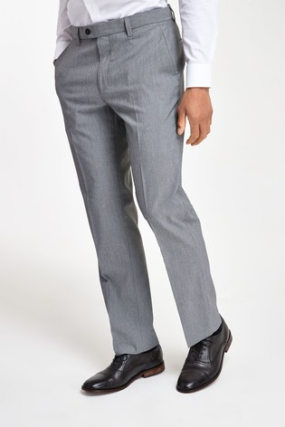 Light Grey Regular Fit Stretch Formal Trousers