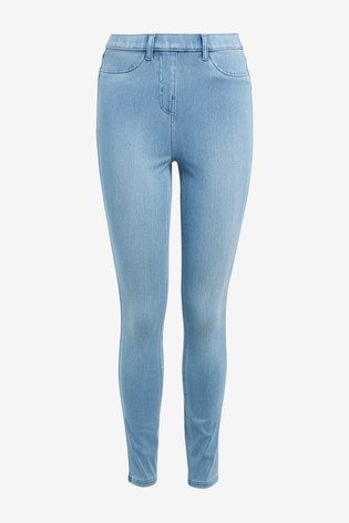 Bleach Wash Jersey Denim Leggings