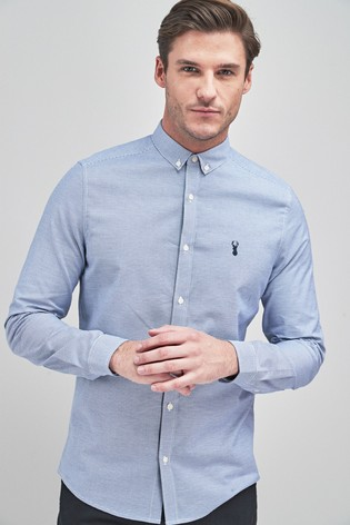 Blue Slim Fit Long Sleeve Stretch Oxford Shirt