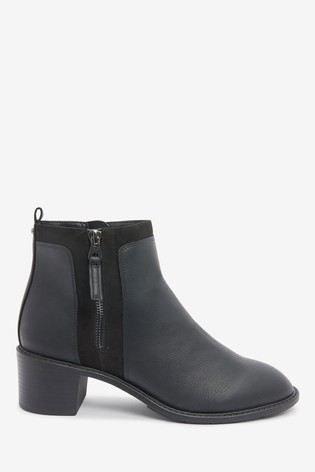 Black Forever Comfort® Chunky Heeled Zip Boots
