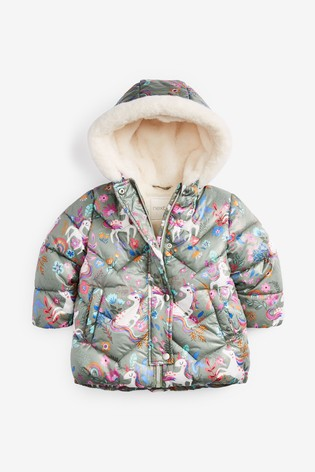 Khaki Unicorn Shower Resistant Padded Jacket (3mths-7yrs)