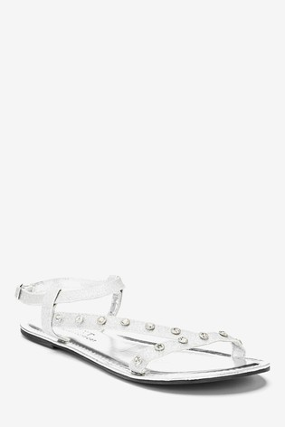 Silver Regular/Wide Fit Forever Comfort® Jewelled Asymmetric Sandals