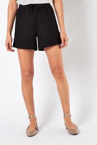 Solid Black Linen Blend Shorts