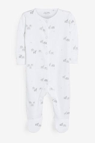 Grey 3 Pack Mono Elephant Sleepsuits (0mths-2yrs)