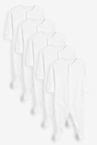 White 5 Pack Essentials Sleepsuits (0-9mths)