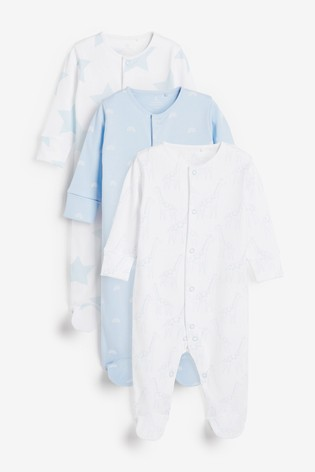 Pale Blue 3 Pack Giraffe Star Supima® Cotton Sleepsuits (0mths-2yrs)