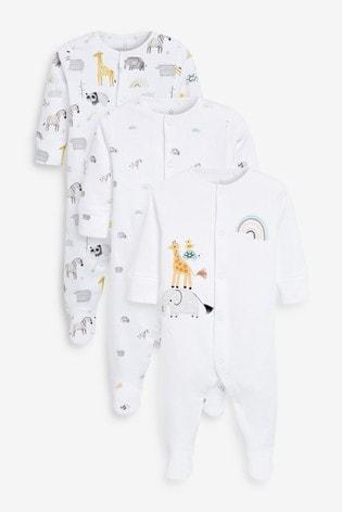 Ecru Safari 3 Pack Delicate Appliqué Sleepsuits (0-2yrs)