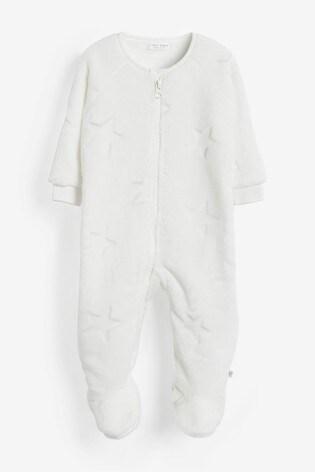 Ecru Star Fleece Sleepsuit (0mths-3yrs)