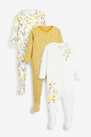 Ochre 3 Pack Floral Sleepsuits (0-2yrs)