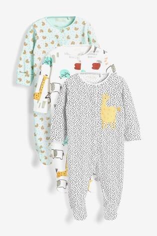 Pastel Safari Character 3 Pack Appliqué Sleepsuits (0-2yrs)