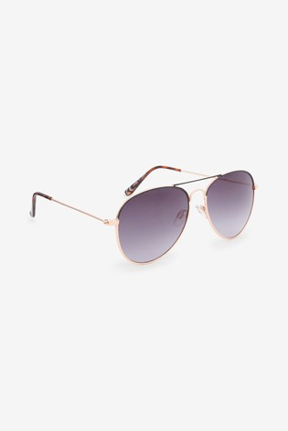 Rose Gold Tone Classic Aviator Style Sunglasses