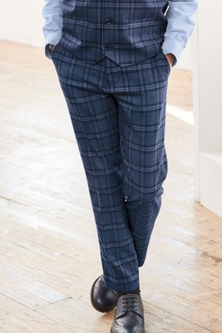Navy Skinny Fit Check Suit Trousers (12mths-16yrs)