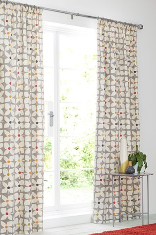 Retro Geo Floral Pencil Pleat Lined Curtains