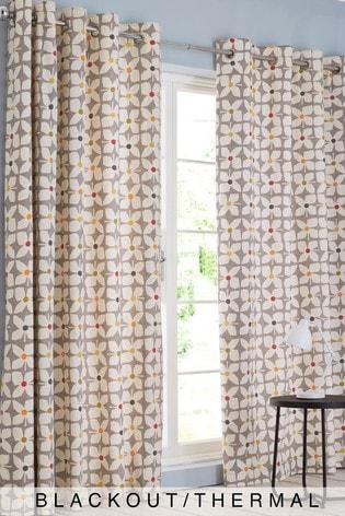 Grey Retro Geo Floral Eyelet Blackout/Thermal Curtains