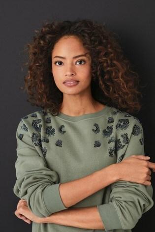 Khaki Embellished Sweatshirt