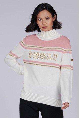 Barbour® International White Gold Trim Logo Wheelspin Jumper