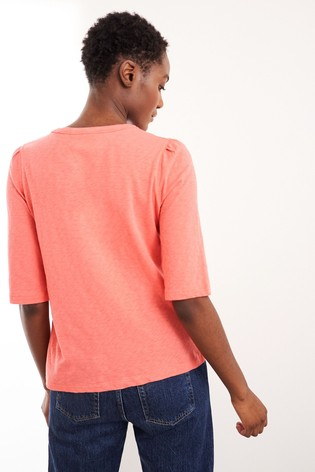 White Stuff Orange Petunia Pocket T-Shirt