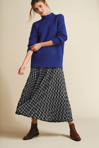 Black Check Pleated Skirt