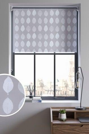 Grey Leaf Print Blackout Roller Blind