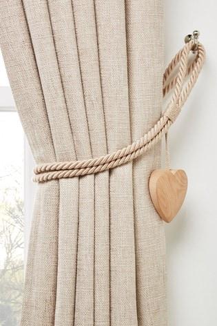 Wooden Heart Tie Backs