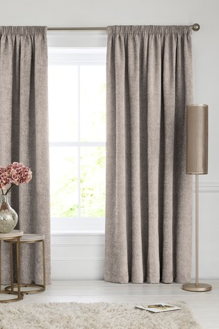 Heavyweight Chenille Pencil Pleat Lined Curtains