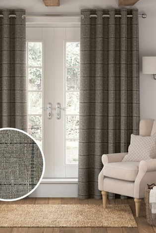 Chunky Weave Check Eyelet Curtains