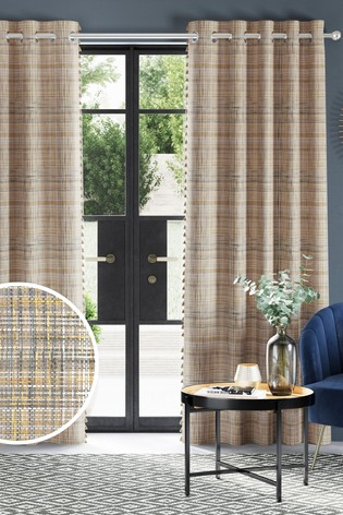 Houlton Check Tassel Eyelet Lined Curtains