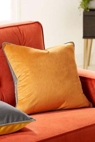 Ochre And Grey Mila Twin Velvet Square Cushion