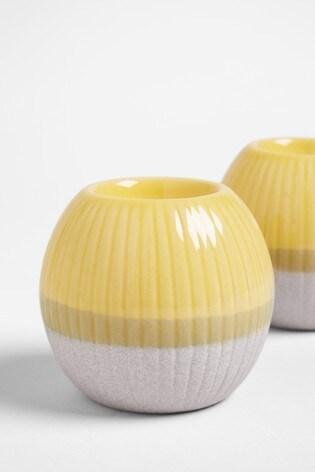 Set of 2 Ochre Ceramic Tealight Holders