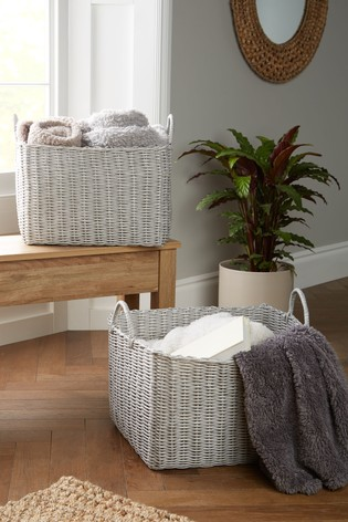 Set of 2 XL Plastic Wicker Storage Baskets